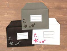 Sterne - 3 Farbige Briefumschläge