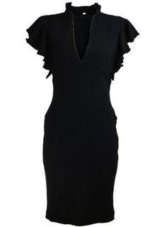 Celebrity Keyhole Frill Ruffle Sleeve Rockabilly Evening Pencil Women's Dress,