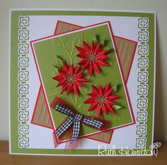 Green pearlised card offer at Papermill - and flower tutorial