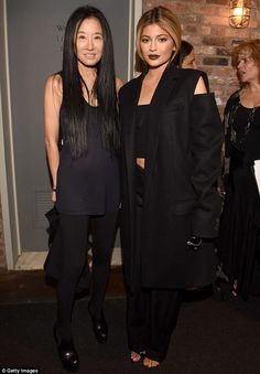 A dark collection: In keeping with the dark surroundings Vera Wang's (pictured left) colle...