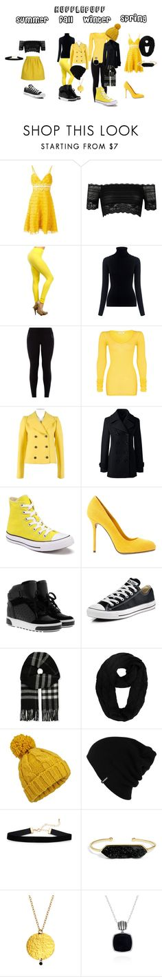 """""""Hufflepuff Outfits"""" by im2cool4u2048 ❤ liked on Polyvore featuring Giambattista Valli, River Island, M.i.h Jeans, Maison Kitsuné, New Look, American Vintage, Balenciaga, Lands' End, Converse and Sergio Rossi"""