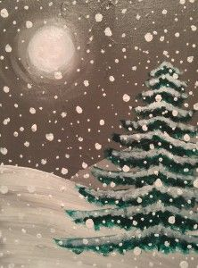 We bring the party to you and Kansas City painting parties that are fun, affordable and happen on your time, wherever you want! We provide all the supplies! - Snowy Night painting by Apple Pie Painting