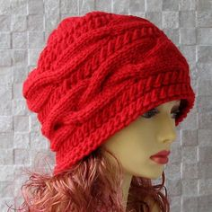Hand Knit cable Hat Oversized Slouchy Beanie XL by AlbadoFashion Slouchy  Beanie 31f136c255e8