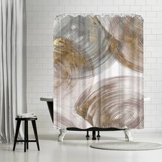 East Urban Home PI Creative Art Spiral Rings Ii Single Shower Curtain Gold Shower Curtain, Shower Curtains, Shower Sizes, Wooden Terrace, Guest Bath, Creative Art, Brown And Grey, Spiral, Artists