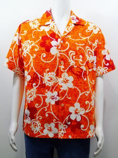 477213f12d  HaleAloha  Isoshimas Vintage 60s Hawaiian  Barkcloth Shirt  loudness  Mod  Orange https