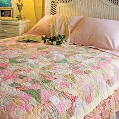 Bed of Roses: FREE Fast Fat-Quarter-Friendly Throw Quilt Pattern  Adapted from a Quilt Designed by KONDA LUCKAU