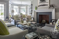 See Ballard designs - accent chairs & fireplace Inside The Traditional Home Hampton Designer Showhouse
