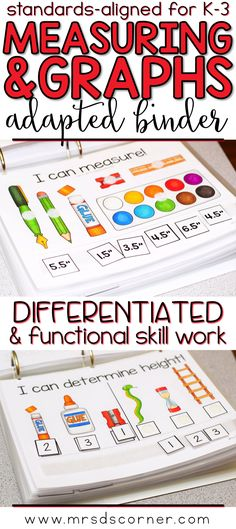 MEASUREMENT * Functional and differentiated skill work that covers measuring and graphing mathematics standards-aligned topics for grades K-3, this Measurement adapted work binder is the perfect addition to any elementary special education classroom. *Standard and Metric Units Included* Includes Measuring Tools, Mass, Volume, Time, Temperature, Length, Measuring, Graphs, Grouping Objects into Groups, 7 Different types of graphs. Adapted Work Binders only at Mrs. D's Corner.