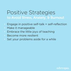 Teaching is rewarding work, but keeping a positive outlook can be difficult at times. Creating healthy, positive habits like the 5 listed will help you feel better, even on your worst teaching day. School Resources, Teacher Resources, Creative Teaching, Teaching Ideas, Stress Burnout, Positive Self Talk, Positive Outlook, Art Lessons Elementary, New Teachers