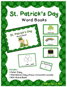 St. Patrick's Day Word Books Freebie.  Great for seasonal vocabulary development!
