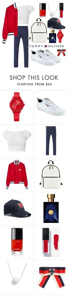 """Tommy Hilfiger"" by mirjamke ❤ liked on Polyvore featuring Tommy Hilfiger, Helmut Lang, French Connection, Versace, Chanel, Chan Luu and Cara"
