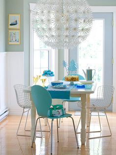 My holiday dining area - contemporary - dining room - other metro - Restyled Home Mismatched Dining Chairs, Table And Chairs, Blue Chairs, Room Chairs, Colorful Chairs, White Chairs, Wood Table, Accent Chairs, Deco Design