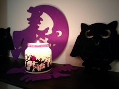 Halloween decor candle and witches