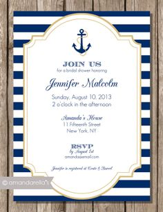 Nautical Invite  DIY Printable by amandarellas on Etsy, $15.00