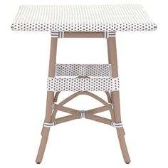 "Peter French Country Woven Old Grey Rattan Square Outdoor Bistro Dining Table 30""D & Under 