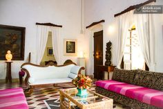Grand Portuguese House in Siolim in Goa- check out the white sette. Good tie-dye linen DIY