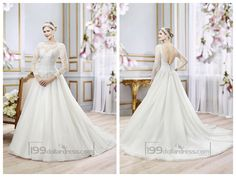 Illusion Lace Long Sleeves Bateau Neckline Ball Gown Wedding Dress with Deep V-back