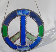8 inch Stained Glass Peace Sign Suncatcher Made by DianeMarieArt