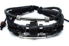 Surfer Hemp Leather Bracelet Wristband Mens