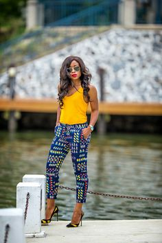 well i am, because with these stimulating trends in African print style. African Print Pants, African Print Fashion, African Fashion Dresses, African Prints, African Attire, African Wear, African Women, African Style, Ghana Mode
