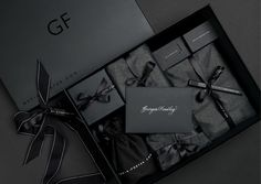 Luxe Signature Packaging Share the experience of luxury & make a statement with this matt black gift box hamper, wrapped in soft layers of black tissue pap Black Packaging, Gift Box Packaging, Luxury Packaging, Jewelry Packaging, Packaging Ideas, Custom Packaging, Net A Porter Gifts, Gift Box For Men, Black Gift Boxes