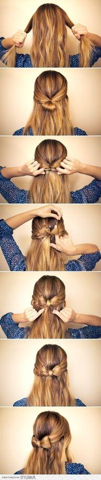 Half up, Half down bow hair