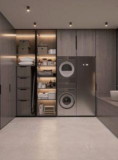 Laundry Room Design, Home Room Design, Dream Home Design, Bathroom Interior Design, Modern House Design, Design Homes, Luxury Kitchen Design, Modern Laundry Rooms, Laundry Room Layouts