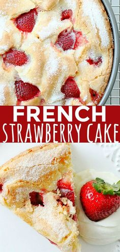 French Strawberry Cake - List of the best food recipes Strawberry Cake Recipes, Cupcake Recipes, Cookie Recipes, Cupcake Cakes, Recipes For Strawberries, Strawberry Cake Decorations, Cupcakes, Strawberry Cheesecake, Just Desserts