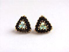 Triangle Earrings - Beaded Stud Earrings- Post Earrings- Gold Black Earrings