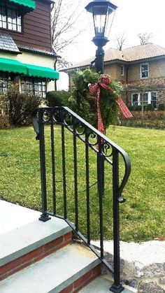 Decorative Wrought Iron Railing… Check more at www. Porch Step Railing, Porch Handrails, Exterior Stair Railing, Outdoor Stair Railing, Iron Handrails, Wrought Iron Stair Railing, Porch Steps, Iron Railings, Front Steps
