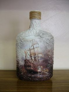 Pin by елена on декор бутылок Wine Bottle Art, Diy Bottle, Wine Bottle Crafts, Jar Crafts, Bottle Box, Potion Bottle, Bottle Vase, Decoupage Glass, Decoupage Art