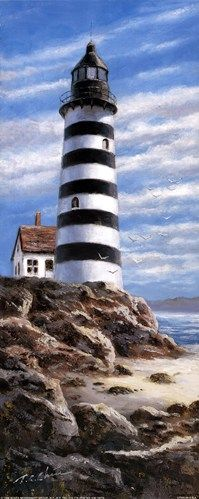 Lighthouse On Rocks, Art Print by T.C. Chiu