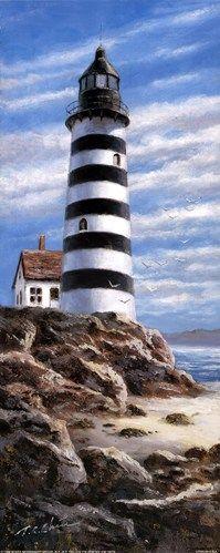 Lighthouse On Rocks, Art Print by T.C. Chiu