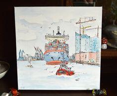 Aquarell auf Leinwand - Containerschiff Hamburg von GRAPHIK und ART auf DaWanda.com Collage, Pencil Drawings, Vintage World Maps, Etsy, Sketch, Painting, Book, Art Pictures, Watercolor Painting