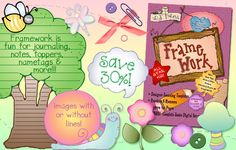 'Framework' clip art is made to write on... so it's great for labels, notes, bulletin boards, name tags and MORE! Buy NOW & you'll enjoy 30% OFF the regular price! Sale applies to CD & downloadable version. (But hurry... sale ends 5/6/15.)