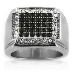 <li>black and white cubic zirconia ring</li><li>Stainless steel jewelry</li><li><a href='http://www.overstock.com/downloads/pdf/2010_RingSizing.pdf'><span class='links'>Click here for ring sizing guide</span></a></li>