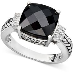 Balissima by Effy Onyx (5-1/5 ct. t.w.) and Diamond Accent in Sterling... ($400) ❤ liked on Polyvore featuring jewelry, rings, accessories, bagues, anillos, no color, black onyx jewelry, sterling silver black onyx ring, engraved sterling silver rings and sparkle jewelry
