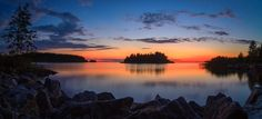 Panorama Sunset - Panoramic sea view after the sunset with very vivid colors and serene atmosphere.