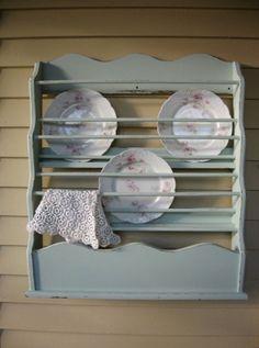 Reserved For Toni- Ann Shabby Chic Linen Rack, Vintage Linen / Plate Rack, Wall…
