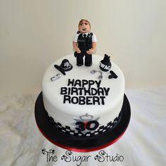 Policeman Police Officer 30th Birthday Cake With Handmade Edible cakepins.com Police Birthday Cakes, Police Cakes, Birthday Cake Girls, 30th Birthday, Birthday Ideas, Fireman Cake, Retirement Cakes, Popcorn Bar, Edible Cake