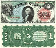 US 1 Dollar Note 1869 Serial# V7054235* Signatures: Allison / Spinner Christopher Columbus - View of Land Portrait: George Washington