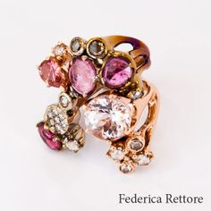 Federica Rettore Ring.18 kt rose gold  stainless steel. 3.81 cts morganite  2.69 cts pink tourmaline.  #couture #jewelry #aspen  1.11 cts rose cut white diamonds  .12 cts rose cut brown diamonds