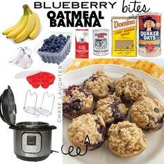 Banana Oatmeal Pancakes, Oatmeal Bites, Blueberry Oatmeal, Banana Bites, Pancake Bites, Banana And Egg, Oven Recipes, Snack Recipes, Dessert Recipes