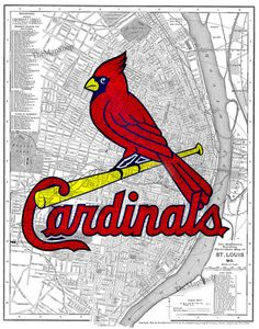 Printed on an 1895 St. Louis street map. Totally awesome, but I think I'd rather have it printed with the vintage Cardinal I previously pinned (the angry one getting ready to pitch).