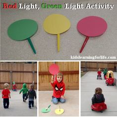 Move in general space in a controlled manner to avoid contact with people and objects and be able to stop in control on command.) - Light, Green Light Activity by Kids Learning for Life Movement Activities, Music Activities, Infant Activities, Physical Activities, Preschool Crafts, Preschool Activities, Red Light Green Light, Light Colors, Safety Games