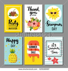 Summer card collection, hand drawn elements with quotes, calligraphy, flowers, fruit, sun. Perfect for greeting cards, sale badges, scrapbook, poster, cover, tag, invitation. Vector illustration.