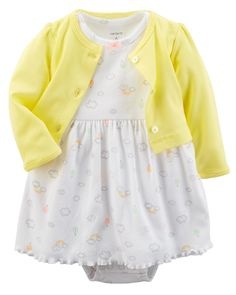 Designed with a full bodysuit underneath and a cardi to match, this soft cotton set keeps her cute and comfy all day.