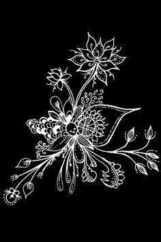 Black White Zentangle - By Alycia Rowe Line Doodles, Flower Doodles, Gel Pen Art, Gel Pens, White Pen, Black White Art, Tangle Doodle, Doodle Art, Tangled Flower