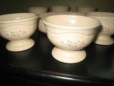 "Pfaltzgraff Rememberance Pattern 6 -4 1/8"" Cups cream w/ peach & white florals  #Pfaltzgraff"