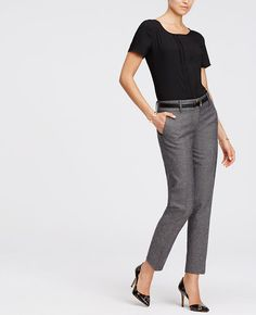 """Our refined twill tweed ups the sophistication of this must-have, outfitted with a slim ankle length and amazingly flattering fit. Top it off with a sleek belt and edgy heel to modernize the look. Contoured curtain waistband offers extra tailoring detail for a better fit. Our modern fit, leaner through your hips and thighs. Front zip with double hook-and-bar closure. Belt loops. Front off-seam pockets. Back besom pockets. Lined. 29"""" inseam."""
